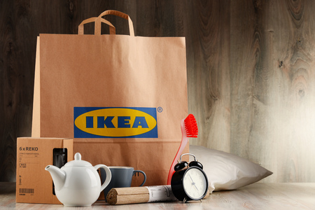 home accessories: POZNAN, POL - NOV 3, 2016: Founded in Sweden in 1943 IKEA is worlds largest furniture retailer, operates 384 stores in 48 countries and sells about 12,000 products (appliances and home accessories)
