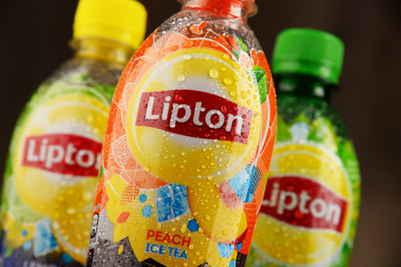 POZNAN, POLAND - NOV 4, 2016: Lipton Ice Tea is a soft drink brand sold by Lipton belonging to Unilever, a British-Dutch multinational consumer goods company. Editorial