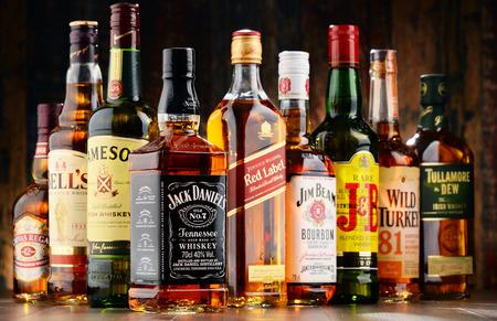 bebidas alcohÓlicas: Poznan, Polonia - 23 de noviembre, 2016: El whisky es el licor más popular en el mundo. Probablemente se originó en Irlanda, ahora se produce también en la India, Escocia, EE.UU., Canadá y Japón.