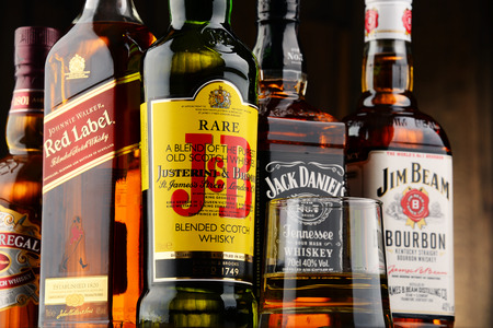 scotish: POZNAN, POLAND - NOV 23, 2016: Whiskey is the most popular liquor in the world. Originated probably in Ireland, now it is produced also in India, Scotland, USA, Canada and Japan.