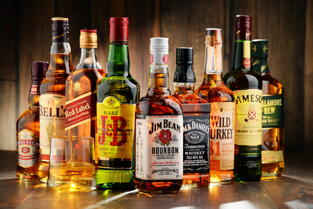 liquor: POZNAN, POLAND - NOV 23, 2016: Whiskey is the most popular liquor in the world. Originated probably in Ireland, now it is produced also in India, Scotland, USA, Canada and Japan.