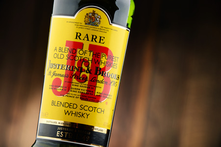scotish: POZNAN, POLAND - NOV 22, 2016: J&B Rare blended Scotch whisky is a product of Justerini & Brooks Ltd. fine wine and spirits merchant who have been supplying to every British monarch since 1761