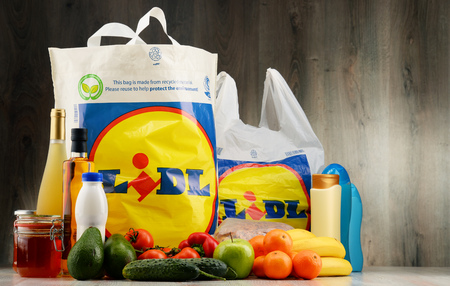 POZNAN, POLAND - DEC 2, 2016: Lidl is a German discount supermarket chain, based in Neckarsulm, Germany, that operates over 10,000 stores across Europe, part of the holding company Schwarz Gruppe Editorial