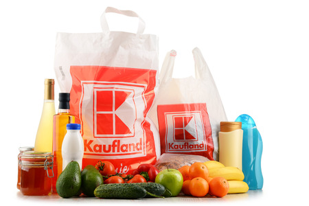 POZNAN, POLAND - DEC 2, 2016: Kaufland is a German hypermarket chain headquartered in Neckarsulm. It belongs to Schwarz Gruppe and operates over 1,000 stores in Germany and Eastern Europe.
