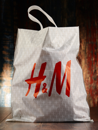 POZNAN, POLAND - NOV 25, 2016: H & M Hennes & Mauritz AB is a Swedish multinational clothing-retail company, It operates over 4,000 stores  in 62 countries worldwide Editorial