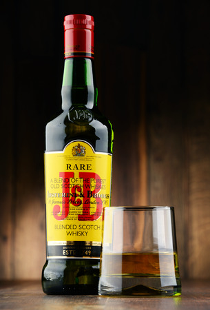 spirits: POZNAN, POLAND - NOV 22, 2016: J&B Rare blended Scotch whisky is a product of Justerini & Brooks Ltd. fine wine and spirits merchant who have been supplying to every British monarch since 1761