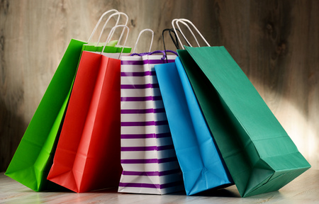 gift bags: Composition with colorful paper shopping bags