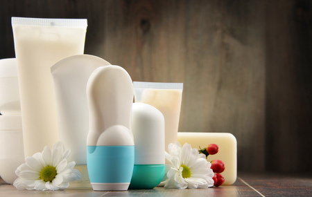cosmetics products: Composition with containers of body care and beauty products. Eco cosmetics. Stock Photo
