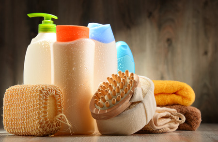 beauty products: Plastic bottles of body care and beauty products. Stock Photo