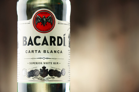 POZNAN, POLAND - DEC 8, 2016: Bacardi white rum is a product of Bacardi Limited, the largest privately held, family-owned spirits company in the world, headquartered in Hamilton, Bermuda. Editorial