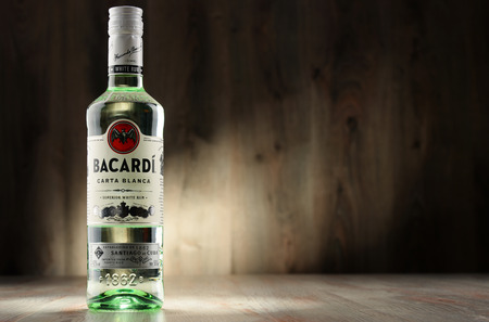 bacardi: POZNAN, POLAND - DEC 8, 2016: Bacardi white rum is a product of Bacardi Limited, the largest privately held, family-owned spirits company in the world, headquartered in Hamilton, Bermuda.