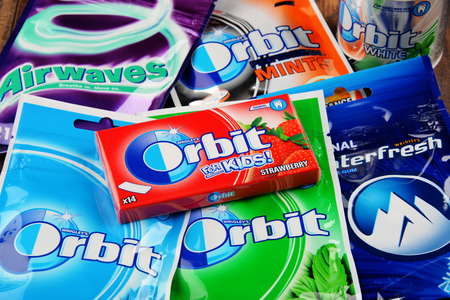 POZNAN, POLAND - JAN 19, 2017: Flagship products of Wrigley Company, the largest manufacturer and marketer of chewing gum in the world, headquartered in Chicago, Illinois, USA