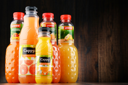 POZNAN, POLAND - JAN 18, 2017: Fruit juice consumption overall in Europe, Australia, New Zealand and the US has increased in recent years due to their perceived health benefits.