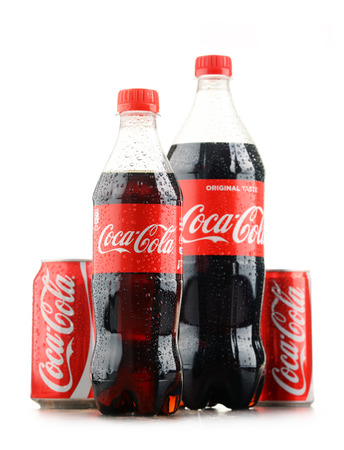seltzer: POZNAN, POLAND - JAN 18, 2017: Coca-Cola is a carbonated soft drink manufactured by The Coca-Cola Company headquartered in Atlanta, Georgia, USA