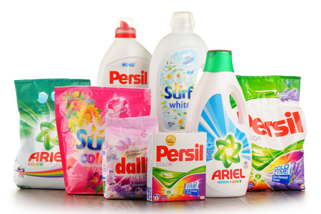 POZNAN, POLAND - JAN 20, 2017: Although global soap and detergent industry includes about 700 companies it remains highly concentrated with the top 50 companies holding almost 90 percent of the market