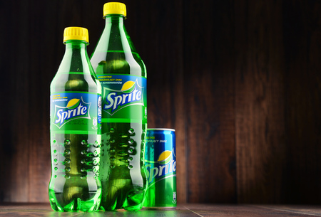 seltzer: POZNAN, POLAND - JAN 18, 2017: Sprite is a brand of soft drink, created by the Coca-Cola Company, developed in West Germany in 1959 as a response to the popularity of 7 Up