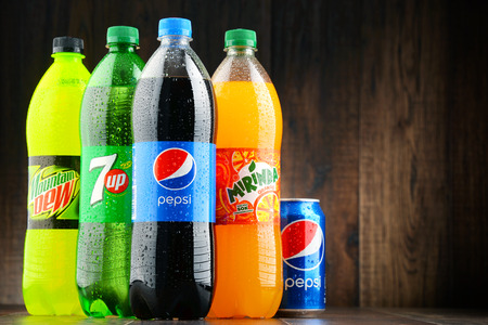 flagship: POZNAN, POLAND - JAN 19, 2017: Flagship products of Pepsico, American multinational food, snack and beverage corporation headquartered in Purchase, New York Editorial