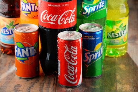flagship: POZNAN, POLAND - JAN 19, 2017: Flagship products of Coca Cola Company, American multinational beverage corporation,  headquartered in Atlanta, Georgia, USA Editorial