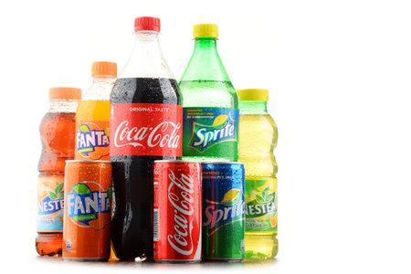 POZNAN, POLAND - JAN 19, 2017: Flagship products of Coca Cola Company, American multinational beverage corporation,  headquartered in Atlanta, Georgia, USA Editorial
