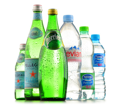 POZNAN, POLAND - JAN 18, 2017: Global bottled water sales have increased dramatically over the past decades. It is estimated that around 200 billion bottles are consumed yearly all over the world Editorial