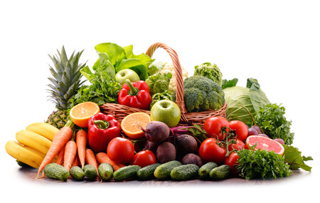 Composition with assorted raw organic vegetables. Detox diet