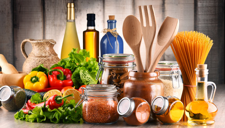 Composition with assorted food products and kitchen utensils on the table Stock fotó - 72697540
