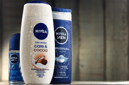 specializes: POZNAN, POLAND - MAR 2, 2017: Nivea is a German personal care brand that specializes in skin- and body-care products. It is owned by Beiersdorf Global AG headquartered in Hamburg.