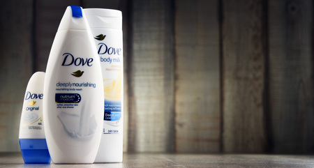 cosmetic product: POZNAN, POLAND - MAR 2, 2017: Introduced to the British market in 1955, Dove is a personal care brand, now owned by Unilever and sold in more than 80 countries