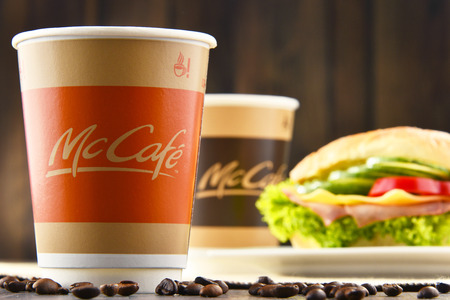 mc: POZNAN, POLAND - MAR 24, 2017: McCafe is a coffee-house-style food and drink chain, owned by McDonalds. Editorial