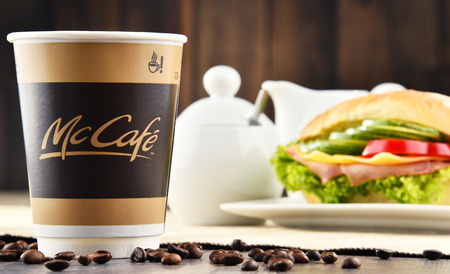 mcdonalds: POZNAN, POLAND - MAR 24, 2017: McCafe is a coffee-house-style food and drink chain, owned by McDonalds. Editorial
