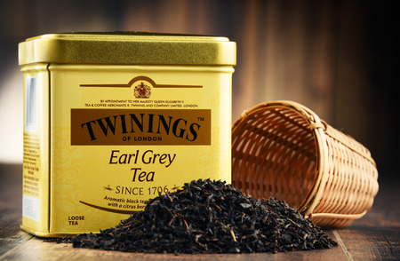 british english: POZNAN, POLAND - MAR 31, 2017: Twinings is an English marketer of tea, located in Andover, Hampshire. The brand is owned by Associated British Foods. Editorial