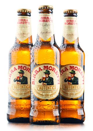 POZNAN, POLAND - MAR 31, 2017: Birra Moretti, Italian brewing company, founded in Udine in 1859 by Luigi Moretti, now owned by Heineken International