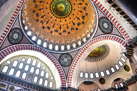 Interior of Suleymaniye Mosque in Istanbul, Turkey.