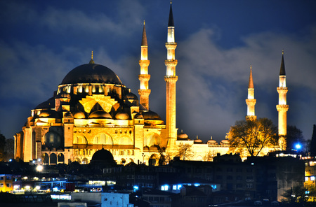 View on the Third Hill of Istanbul with Suleymaniye Mosque. Stock Photo