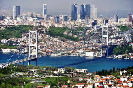 Panoramic view of Istanbul with the Bosphorus Bridge over Bosphorus strait.