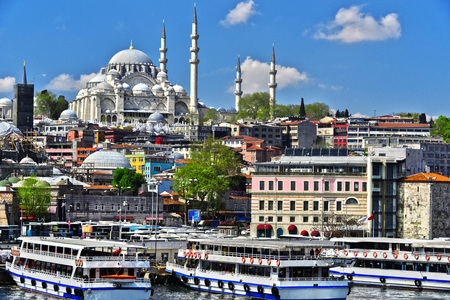 View on the Third Hill of Istanbul with Suleymaniye Mosque. Editorial