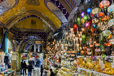 ISTANBUL, TURKEY - APR 24, 2017: Grand Bazaar in Istanbul, Turkey, one of the largest and oldest covered markets in the world