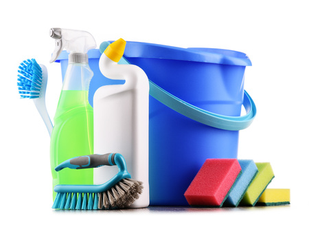 Chemical cleaning supplies isolated on white. Stock Photo