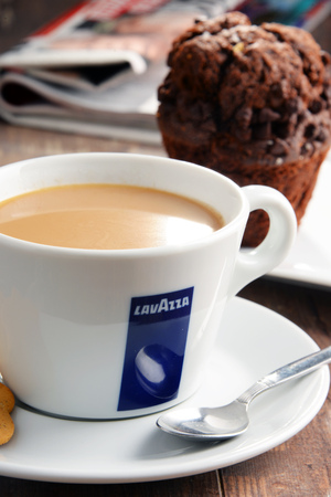 POZNAN, POLAND - APRIL 28, 2016: Lavazza is an Italian manufacturer of coffee products It was founded in Turin in 1895 by Luigi Lavazza. Editorial