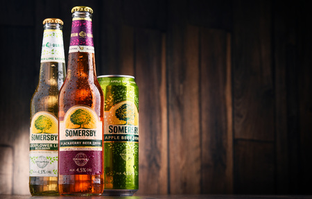 POZNAN, POLAND - MAY 17, 2017: Somersby cider is a brand of 4.5% abv cider produced by Danish brewing company Carlsberg Group. It is being sold in more than 46 countries.