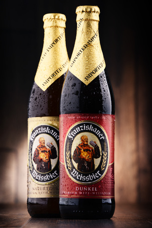 POZNAN, POLAND - MAY 17, 2017: Franziskaner Weissbier is a product of Spaten-Franziskaner-Breau GmbH located in Munich, Bavaria, Germany. The brewery is owned by the Anheuser-Busch InBev. Editorial