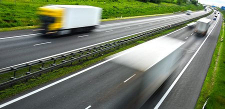 transport truck: Four lane controlled-access highway in Poland.
