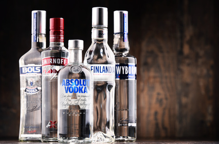 POZNAN, POLAND - MAY 31, 2017: Vodka is the world's largest internationally traded spirit with the estimated sale of about 500 million nine-liter cases a year.
