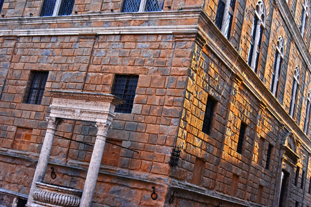 pienza: Architecture of historic center of Pienza in Tuscany, Italy. UNESCO World Heritage Site Stock Photo