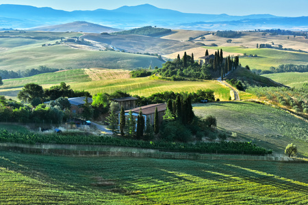 Landscape view of Val dOrcia, Tuscany, Italy. UNESCO World Heritage Site