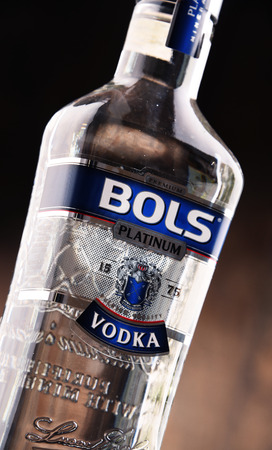 distributed: POZNAN, POLAND - MAY 31, 2017: Bols is the oldest distillery brand in the world created by Dutch distiller Lucas Bols in 1575. Now distributed in 110 countries.
