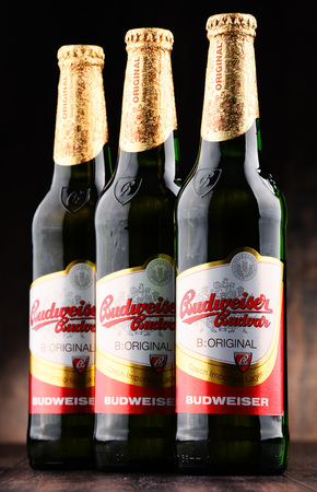ceske: POZNAN, POLAND - JUNE 2, 2017: Budweiser Budvar one of the highest selling beers in the Czech Rep. exported into more than 60 countries, produced in Ceske Budejovice by Budweiser Budvar Brewery