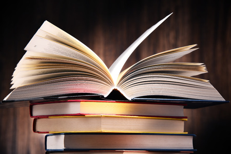 glossary: Composition with books on the table.