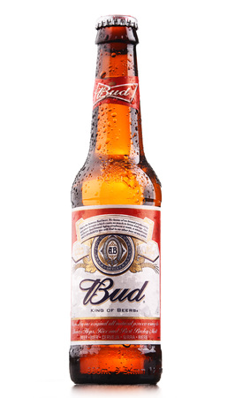 POZNAN, POLAND - JULY 7, 2017: Introduced in St. Louis, Missouri in 1876 , Budweiser is an American-style pale lager produced now by Anheuser-Busch