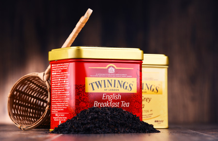 poznan: POZNAN, POLAND - JULY 7, 2017: Twinings is an English marketer of tea, located in Andover, Hampshire. The brand is owned by Associated British Foods. Editorial